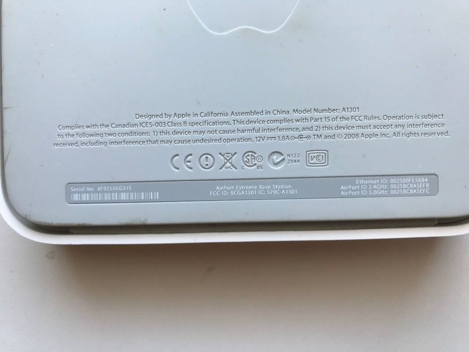 Apple роутер AirPort Extreme A1301, Wi Fi
